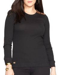 Ralph Lauren Lauren Plus Zip Crewneck Shirt - Lyst
