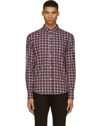 Band Of Outsiders Navy and Red Plaid Button_down Shirt - Lyst