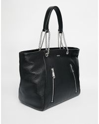 DKNY Active - Dkny Soft Leather Tote Bag With Chain Straps - Lyst