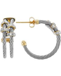 Charriol Classique 18K Yellow Gold And Stainless Steel 0.08Tcw Hoop Earrings - Lyst