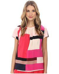 Kate Spade Color Block Paley Silk Top - Lyst