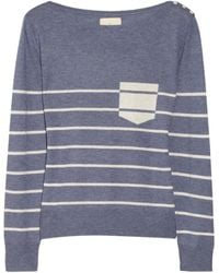 Band Of Outsiders Striped Silk and Cashmereblend Sweater - Lyst