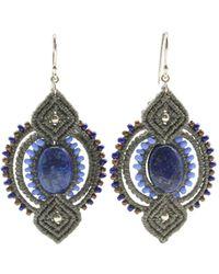 Leju Macrame Earrings With Lapis Lazuli Detail In Grey - Lyst