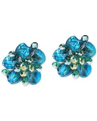 Aeravida - Blue Zebra Painted Mother Of Pearl Floral Clip On Earrings - Lyst