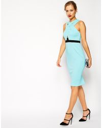 Asos Scuba Double Cross Front Pencil Dress - Lyst