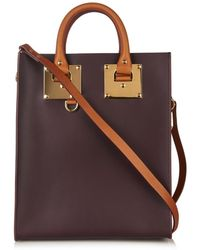 Sophie Hulme Mini Structured Buckle Leather Tote - Lyst