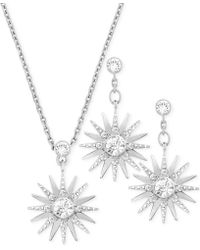 Swarovski Rhodium-plated Crystal Necklace and Earrings Set - Lyst