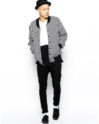 American Apparel Bomber Jacket in Houndstooth - Lyst