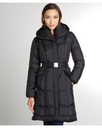 Cole Haan Black Quilted Belted Oversized Collar Down Jacket - Lyst