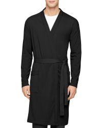 Calvin Klein Cotton Modal Robe black - Lyst