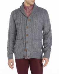 Bellfield - Ebbe Cable Knit Cardigan - Lyst