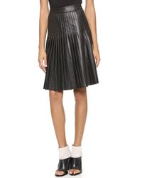 Rebecca Taylor Faux Leather Pleated Skirt Black - Lyst