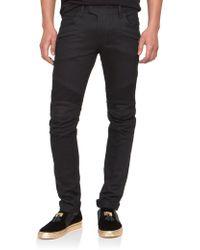 Balmain Slim-Fit Raw Denim Moto Jeans black - Lyst