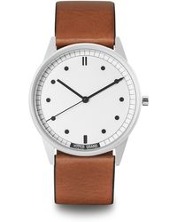 HyperGrand | 01nato Silver Watch On White Dial And Tan Leather Strap | Lyst