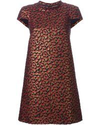 Saint Laurent Leopard Jacquard Mini Dress - Lyst