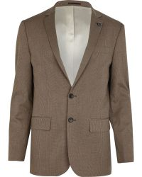 River Island Brown Check Slim Suit Jacket - Lyst