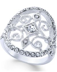 City By City - Silver-tone Openwork Crystal Ring - Lyst