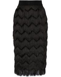 Milly Fringed Woven Skirt - Lyst