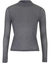 Topshop Long Sleeve Rib Funnel Neck Top - Lyst