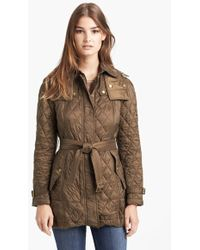 Burberry Brit 'Finsbridge' Belted Quilted Jacket gray - Lyst