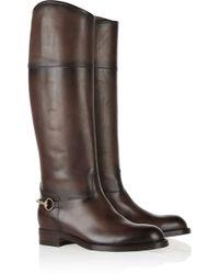 Gucci Horsebit-embellished Burnished-leather Boots - Lyst