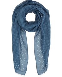 Drake's Dot-Print Voile Scarf - Lyst
