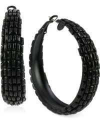 Steve Madden Black-tone Baguette Bead Hoop Earrings - Lyst