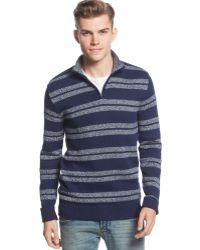 American Rag Striped Quarter-zip Sweater - Lyst