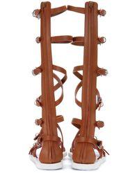 Balenciaga Brown Leather Sandals - Lyst