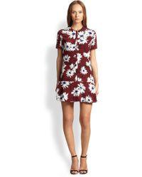 Nina Ricci Silk Daisy Print Mini Dress - Lyst