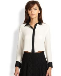Alice + Olivia Rita Silk Cropped Shirt - Lyst