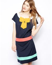 Love Moschino Signature Dress with Short Sleeves and Bow Front - Lyst