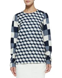 O'2nd - Cube Print Patched Blouse - Lyst