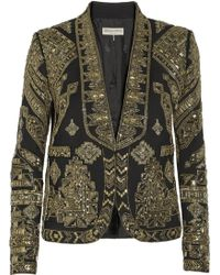 Emilio Pucci Cropped Embellished Wool and Silkblend Twill Jacket - Lyst