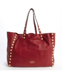 Valentino Scarlet Leather Studded Tote Bag - Lyst