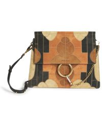 chloe satchel handbag - chloe faye medium embellished suede and leather shoulder bag, cloe ...