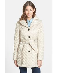 Laundry by Shelli Segal Belted Quilted Coat - Lyst