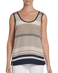 Vince Printed Silk Tank Top - Lyst