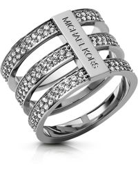 Michael Kors Brilliance Silver Tone Triplestack Pave Ring - Lyst