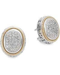 Effy - Diamond, Sterling Silver & 18k Yellow Gold Oval Earrings - Lyst