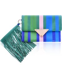 Sara Battaglia Green Stripe Medium Teresa Clutch - Lyst