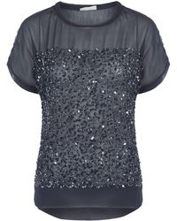 Day Birger Et Mikkelsen Charcoal Rain Sheer Sequin Georgette Top - Lyst