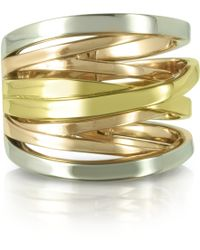 Michael Kors Yellow Rose Gold and Silver Eternity Ring - Lyst