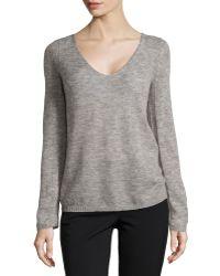 Halston Heritage V-Neck Brush Knit Sweater - Lyst