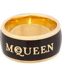 Alexander McQueen Gold and Black Enamel Ring - Lyst