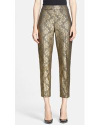 St. John 'Emma' Gilded Lace Crop Pants - Lyst