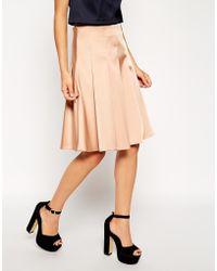 Asos Premium Pleated Skirt In Satin - Lyst