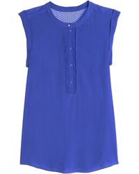 Rebecca Taylor Crepe Lace Top - Lyst