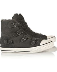 Ash Virginy Shearling-Lined Suede Sneakers - Lyst