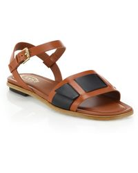 Tod's Sand Paneled Leather Sandals - Lyst